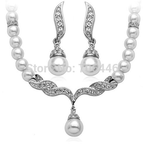 Rose Gold Bridal Jewelry Sets Cream Faux Pearl Rhinestone Crystal - Fashion Jewelry - Photo 3