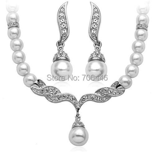 Rose Gold Bridal Jewelry Set Cream Faux Pearl Rhinestone Crystal - Perhiasan fashion - Foto 3