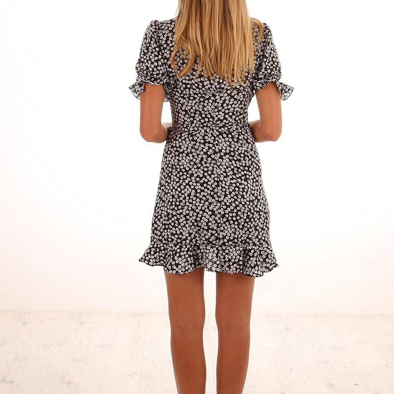LASPERAL Polka Dot Print Summer Dress Beach Irregularities Sexy Dress Women Deep V Neck Short Sleeve Slim Chiffon Dress Vestidos
