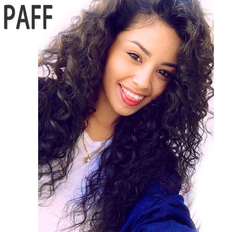 PAFF Brazilian Curly Lace Front Human Hair Wigs For Black Women Long Hair Wig Non Remy Pre Plucked With Baby Hair Bleached knots ...