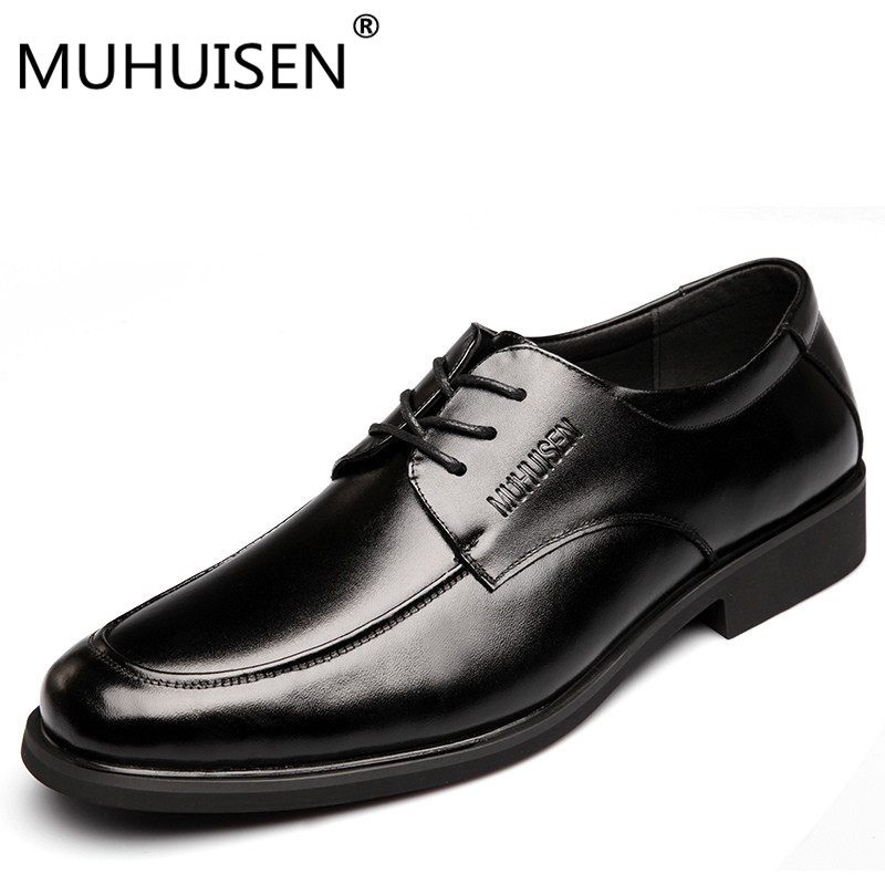 MUHUISEN Brand Luxury Men Dress Formal Shoes Fashion Genuine Leather Lace Up Flats Shoes Male Oxford Business Wedding Shoes cbjsho brand men shoes 2017 new genuine leather moccasins comfortable men loafers luxury men s flats men casual shoes