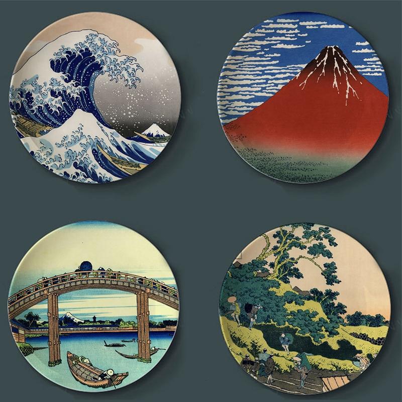 Tomitake Thirty-six King Decorative Plate Hanging Plate Hokusai Japanese Ceramic Disc Floating World Painting Wall Adornment