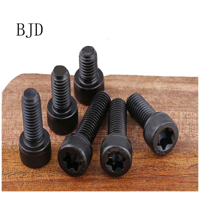 10pcs M5/M6/M8/M10 12.9 Grade black Carbon Steel Six Lobe Pin Cap Cup Allen Head Bolt Hexagon Socket Screw m8 head hexagon socket capier disc hexagon hollow flange m6 hexagon headed concave m5 m6head hexagon socket