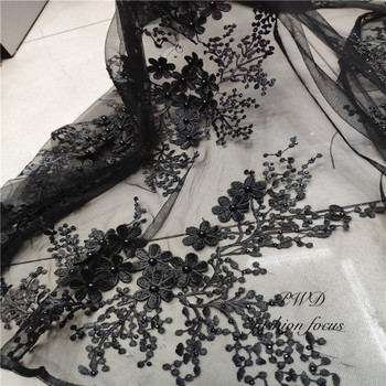 Black Lace work Fabrics 2019 Embroidered African Lace Fabric Bridal High Quality French Tulle Lace Fabric For Wedding Party