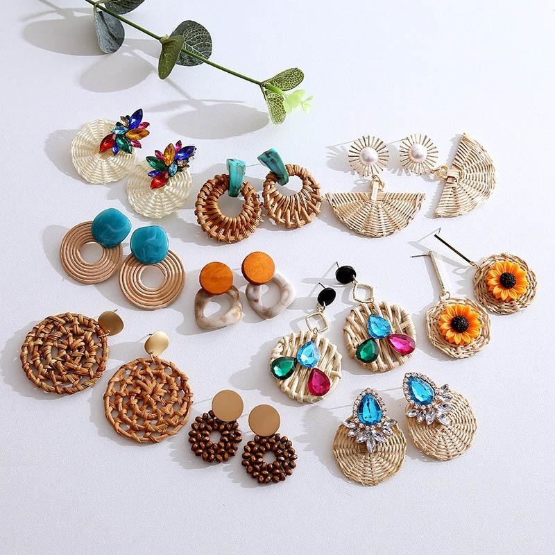 Korean Style 2020 Fashion Handmade Straw Woven Wooden Vine Rattan Earrings For Women Boho Resin Crystal Flower Drop Earring Gift