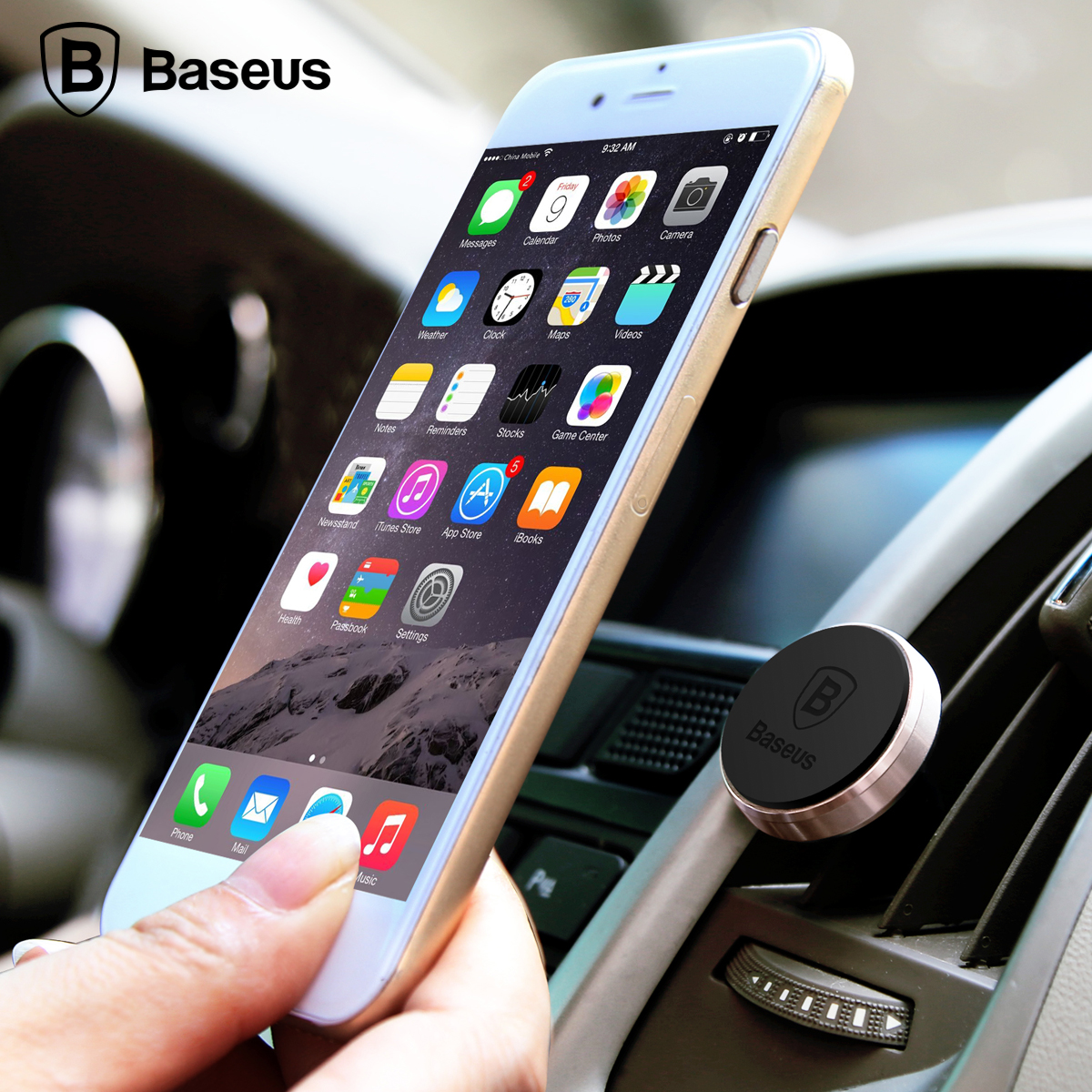 Baseus universal magnetic car phone holder air vent mount stand for iphone 7 plus 6s for samsung galaxy s7 s6 phone stand holder in mobile phone holders