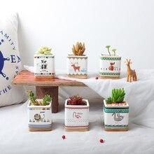6pcs/set Cute Animals Painting Planters Ceramic Succulent Plant Pot Handmade Porcelain Desktop Bonsai Planter Flamingo Panda Fox