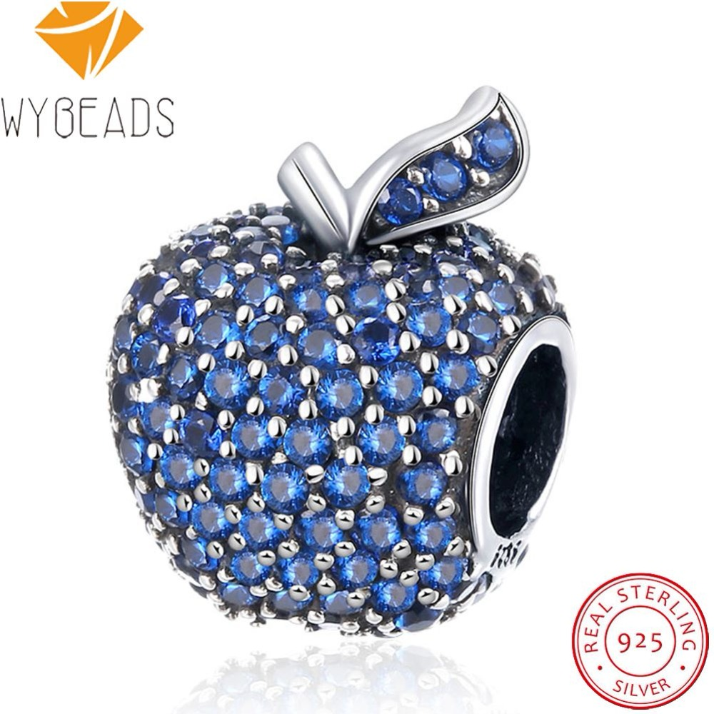WYBEADS 925 Sterling Silver Snow Whites Apple Charms Blue Cubic Zircon European Bead Fit Bracelet DIY Accessories Fine Jewelry