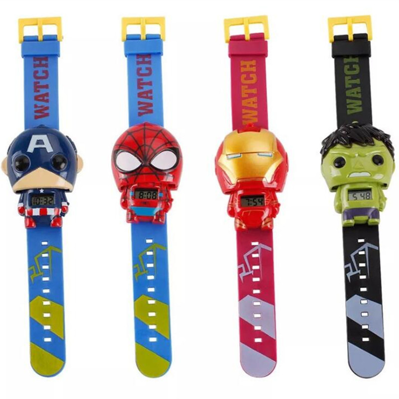 Hot Children's Educational Toys Cartoon Novelty Electronic Watch Superhero Captain America Deformation Marvel Heroes Watch Gift