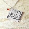 Personalizado Colar de forma quadrada colar da liga personalizado com birthstone, jóias pingente, data do casamento