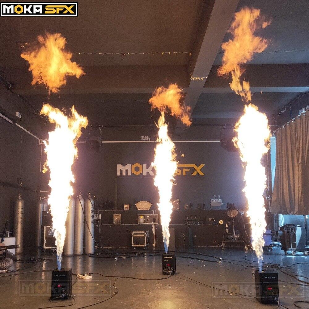 Embalagem caso do vôo de alta fogo ignição máquinas máquina de efeito de estágio projetor chama chama dmx com display LCD