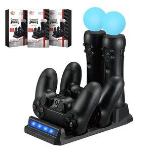 Image 1 - Pour Playstation 4 PS4 mince Pro PS VR PS déplacer les contrôleurs de mouvement 4 en 1 chargeur USB Station de chargement support de stockage