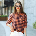 Veri Gude xadrez blusa mulheres camisa solta carta impressão de algodão de manga comprida