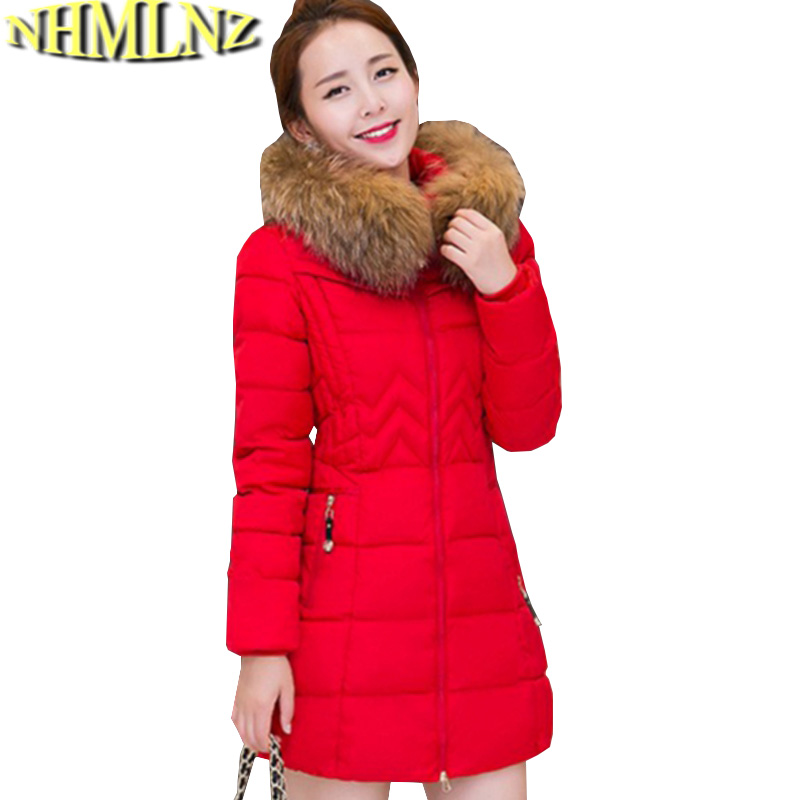 Women Winter Jacket New Fashion Hooded Fur collar Coat Long sleeve Thick Warm Cotton Down jacket Slim Big yards Women Coat G2722 pregnant women winter coats thick warm cotton jacket new fashion women coat knit patchwork long sleeve loose hooded jacket g2834