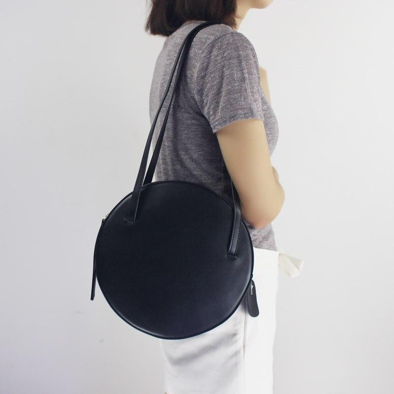 BENVICHED Rodada saco de Gado de couro Genuíno Das Senhoras 2019 de moda de nova pure color bolsa único saco de ombro retro mini saco c392 - 2