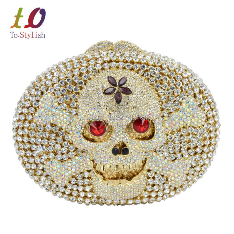 ФОТО Stylish Latest Skull Evening Clutch Bag Gold Women Devil Party Lovely Clutch Party Banquet Bag for Ladies Wedding Purse 88584