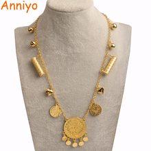 Anniyo 51CM CTurkish Lira collares con diseño de moneda para las mujeres/niñas nación tradicional de Metal árabe joyería turca iraquí regalos #010801