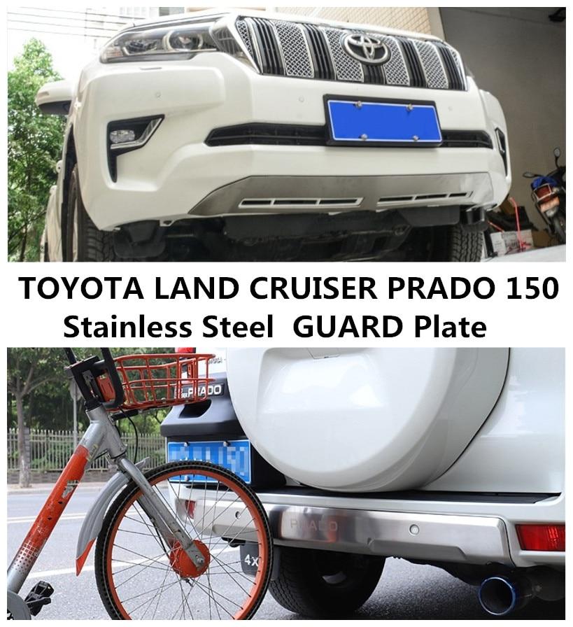 Per TOYOTA LAND CRUISER PRADO 150 2018 2019 Anteriore + PARAURTI Posteriore Diffusore Protecto Skid Piastra In Acciaio Inox Auto accessori
