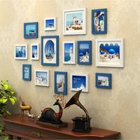 15 Pcs Set Wooden Photo Frame Family Picture Frame Wall Blue White Black Wedding Photo Frames