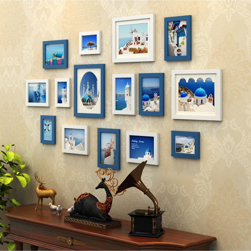 15 pcsset wooden photo frame familypicture frame wallblue white black