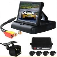 4.3''TFT LCD flip display Video Parking sensor with rear view Camera reverse back up parking radar 4 sensors