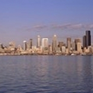 City viewed from Alki Beach  Seattle  King County  Washington State  USA 2010 Poster Print (18 x 6)