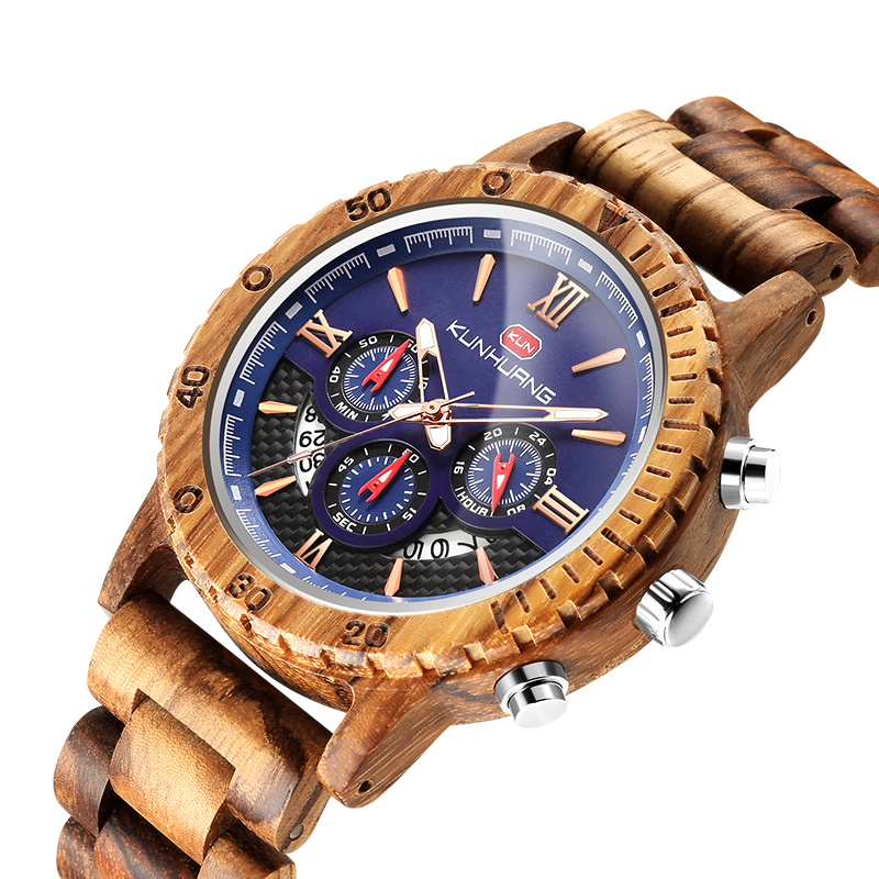 2019 Relogio Masculino GIMSR Wooden Watch Men Top Brand Luxury Stylish Chronograph Military Watches For Men Gifts reloj hombre(China)