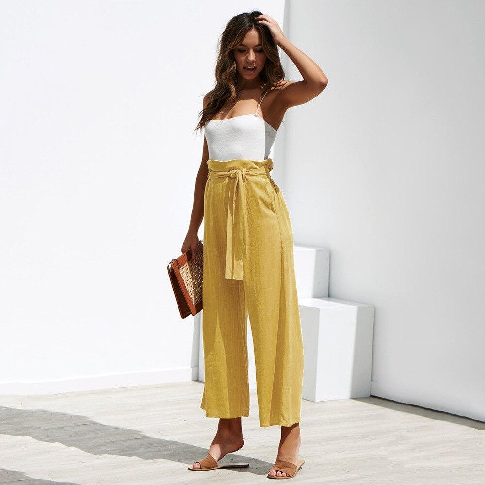 Casual Cotton Linen High Waist Wide Leg Pants 16
