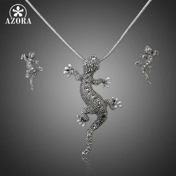 AZORA Classic Ancient Silver Color Stellux Austrian Crystal Gecko Drop Earrings and Necklace Set TG0035