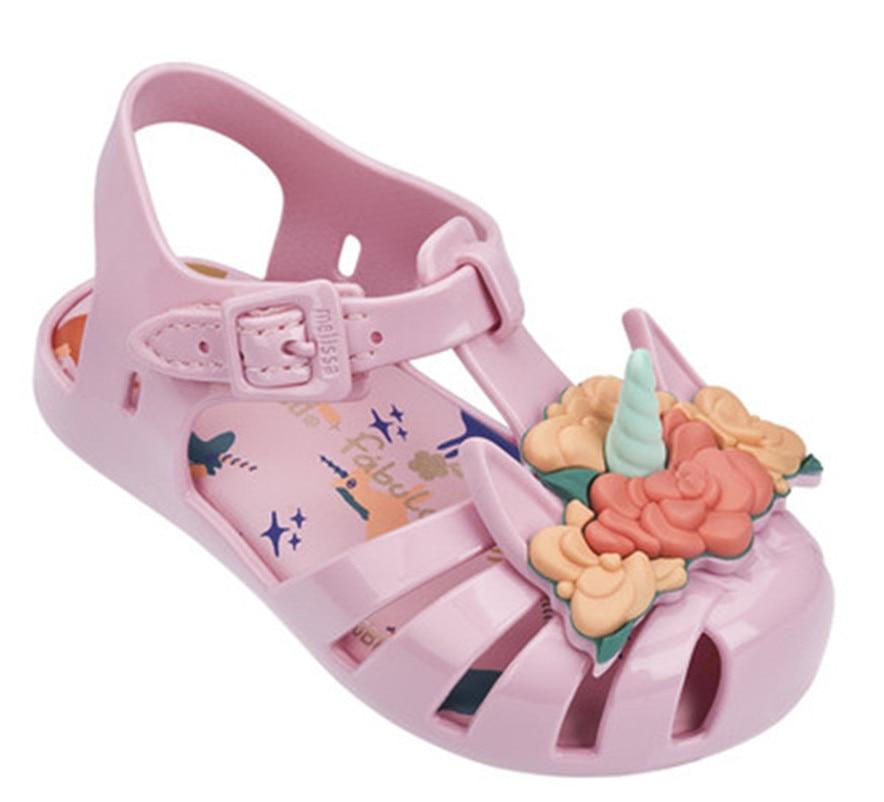 005f79a24a Melissa Unicorn Flowers Girl Brazilian Jelly Sandals Children Soft Shoes  Cute Girls Jelly Sandals Princess Shoes Kids Sandals