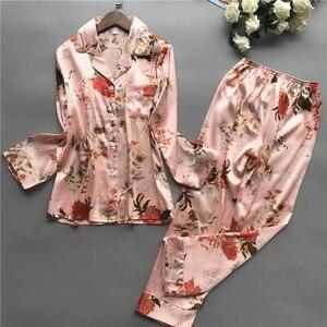 Image 5 - 2020 nova primavera outono ponto pijamas conjunto de seda sensação pijamas pijamas para mulher pijamas feminino