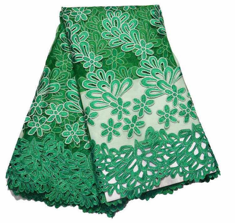 Wholesale 5 yards chantilly lace fabric water green for French lace fabric for wedding dresses