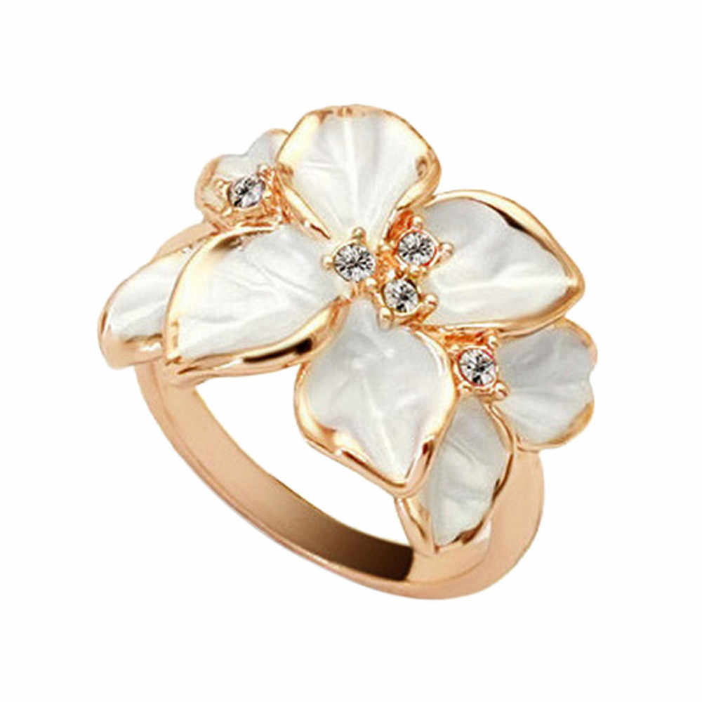 2019 New Gold Color Crystal Flower Rings Cubic Zircon Camellia Ring For Women Engagement Wedding Jewelry Bijoux Anillos Mujer