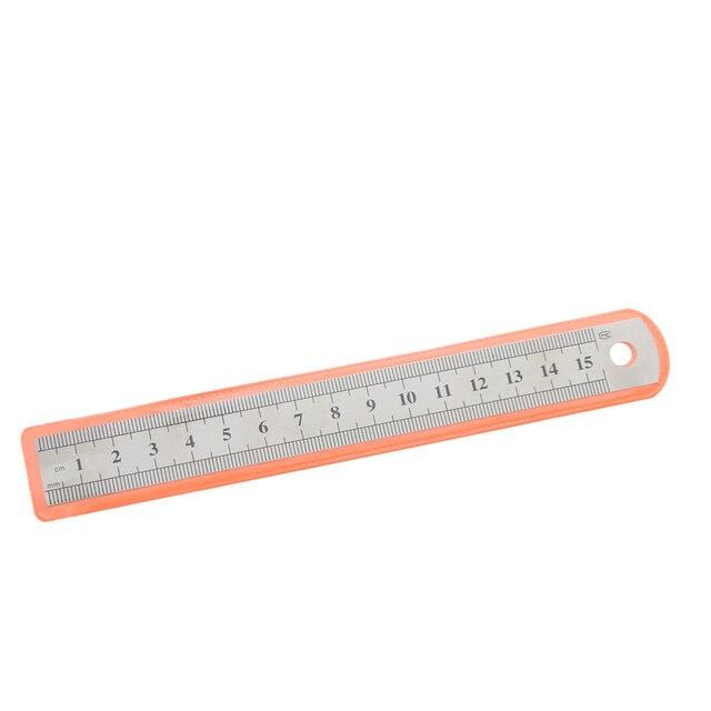 1 Pc 15 centimetri 6 Pollici In Acciaio Inox Metallo Righello Dritto Precisione Doppia Faccia di Apprendimento di Cancelleria Per Ufficio Redazione Forniture 6