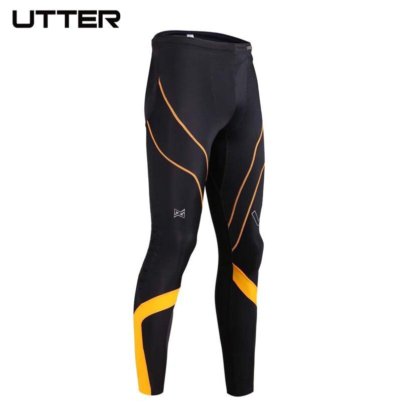 UTTER J6 Men Yellow Printing Compression Pants Sports Running Tights Bodybuilding Jogging Leggings Fitness Gym Italy CVC Fabric - 3