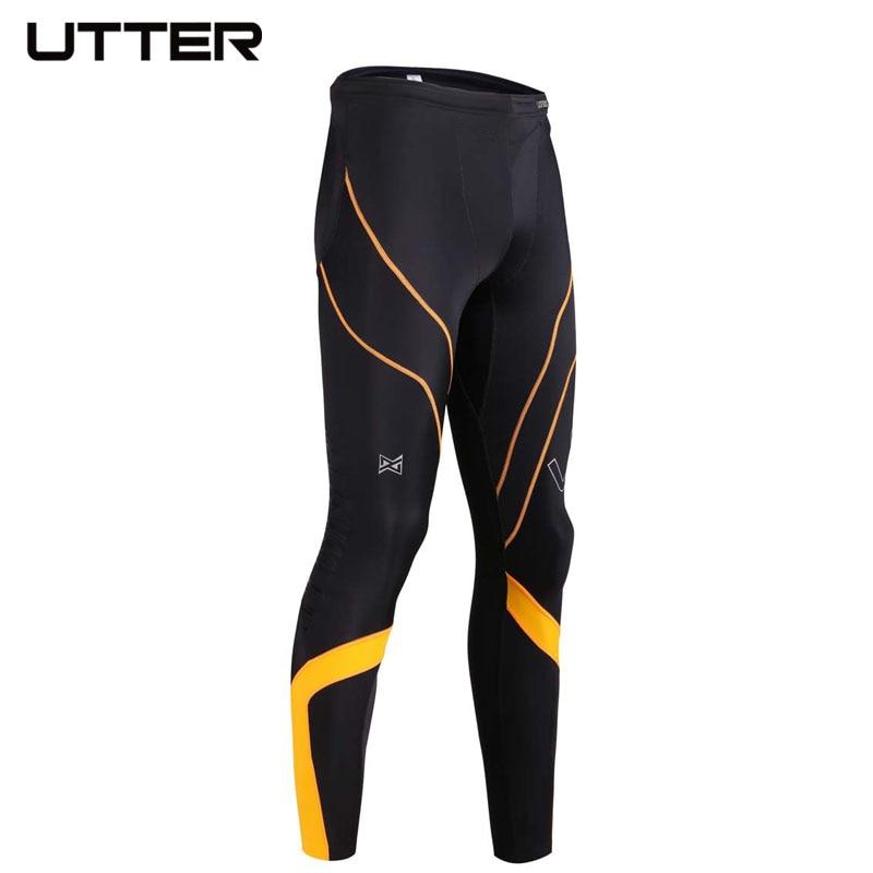 UTTER J6 мужские желтые компрессионные штаны с принтом, спортивные колготки для бега, леггинсы для бодибилдинга, бега, фитнеса, тренажерного зала, итальянская ткань CVC - 3