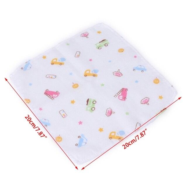 Mouchoir pour le visage de dessin animé   10 pièces, Double couche 100% coton, gaze coton, serviettes carrées alimentation des tout-petits, nouveau-né