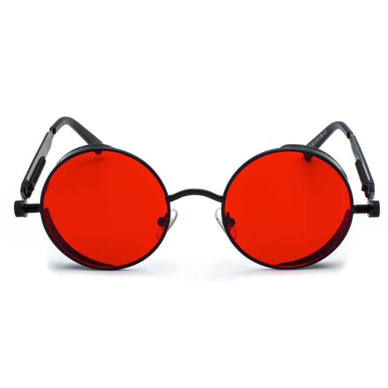 c401143817 ... Kachawoo retro steampunk round sunglasses for men gift women red lens  metal frame round sun glasses ...