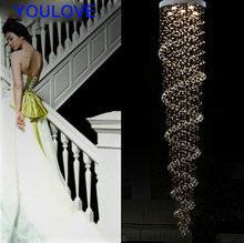 Free Shipping LED Luxury spiral crystal chandeliers lights villa hall foyer lobby restaurant stair crystal drop lights GU10 lamp duplex building stair crystal chandelier spiral villa foyer led chandeliers light lighting free shipping