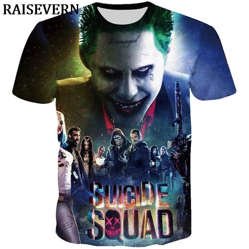 7c83b845d Joker Funny Suicide Squad T Shirt Harley Quinn T-shirt Hip Hop Men Women  Tees Summer Tops Tees Streetwear Homme Plus Size 3XL