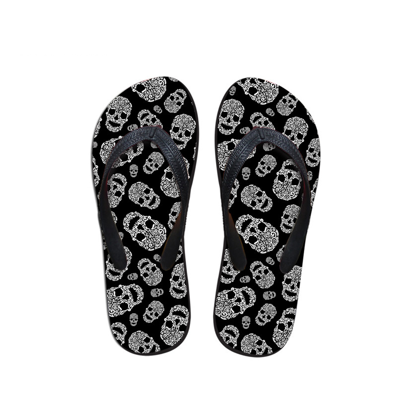 Customized Summer Beach Slippers For Men,man Fashion Skull Print Flip Flops,custom Designer Male Flipflops Rubber Slippers Other