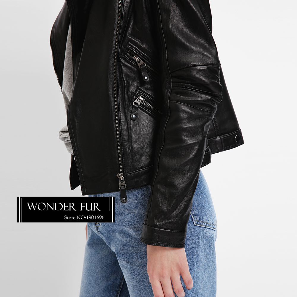 Manteau Piste Luxe Leather Et Réel Nouvelle Cool Dames De Vogue Suède Black Peau Veste Mouton En zélande Moto Collection Cuir aTqfn4