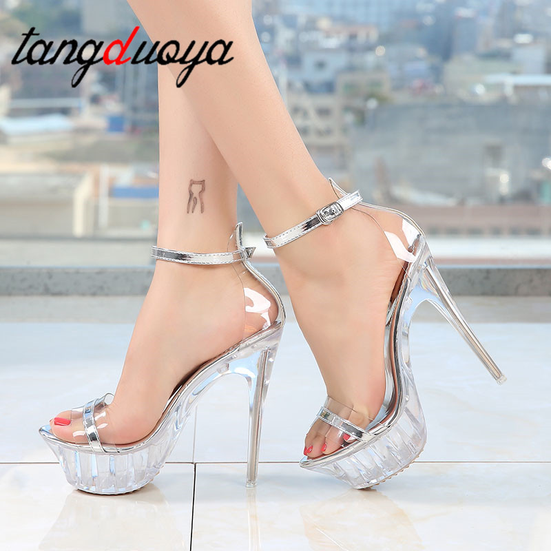 female shoe <font><b>Platform</b></font> <font><b>high</b></font> <font><b>heels</b></font> <font><b>Sexy</b></font> <font><b>sandals</b></font> women stripper <font><b>heels</b></font> shoes women summer Stripper Pole Dance Women Large Size strips image