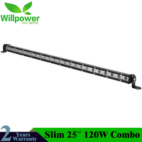 Car Accessories Super Slim Light Single Row 120W 25inch Offroad Led Light Bar Combo Beam Led Work Light Driving Lamp for Truck