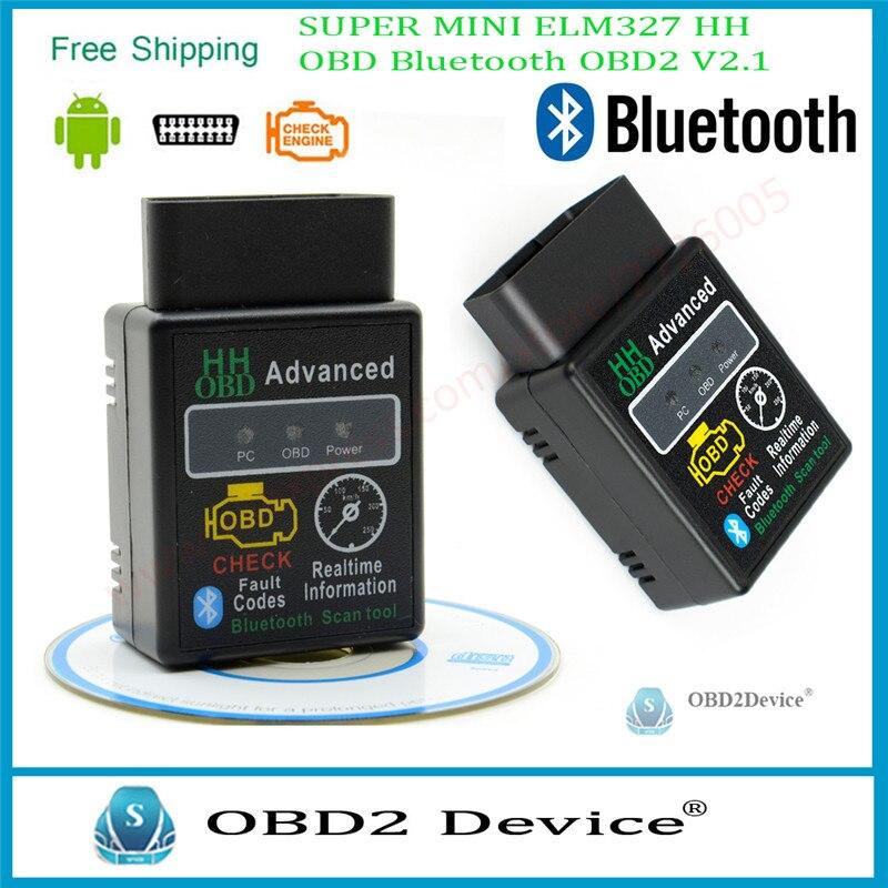 Royalstar New OBD2 HH ELM327 Bluetooth Diagnostic Tool ELM 327 Version 2.1 OBDII For Android Torque Car Fault Code Scanner