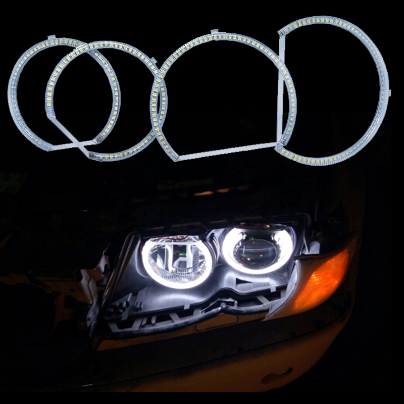 HOPSTYLING 4 Pcs Xenon Putih SMD LED Angel Eyes Halo Rings lampu - Lampu mobil - Foto 2