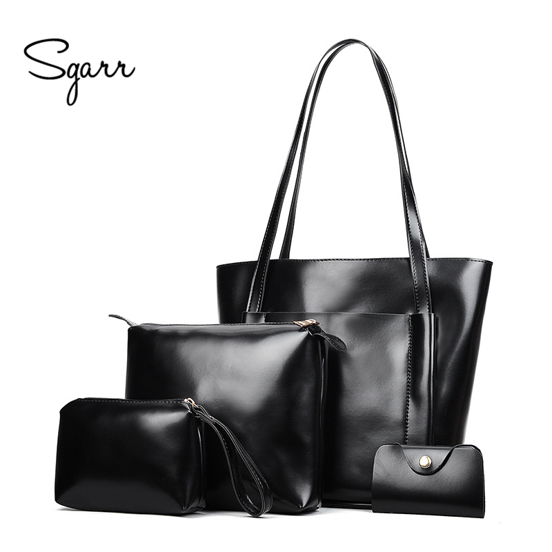 SGARR High Quality Oil Wax PU Leather Women Handbags Fashion 4 Pieces Set Bag Large Capacity Ladies Shoulder Bag New Tote Bags