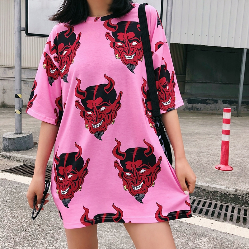 Harajuku Oversized Graphic Funny Female   T  -  Shirts   summer Women cartoon print   T     Shirt   Casual Boyfriend tshirt streetwear white Top