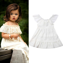 2019 Summer Kids Dresses Baby Girls White Lace Off Shoulder Ruffle Tutu Dress Toddler Baby Girl Clothes Party Beach Sundress