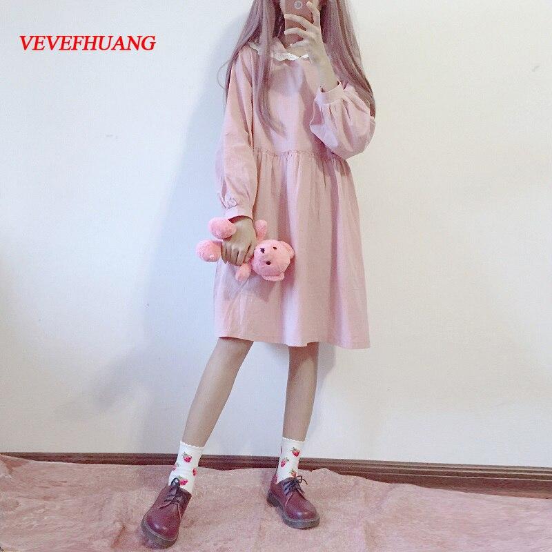 2018 Japanese Soft Sister Lace With Cap Dress Autumn Women Kawaii Bunny Girl Slim Dresses Fashion Cute Long Sleeve Dress